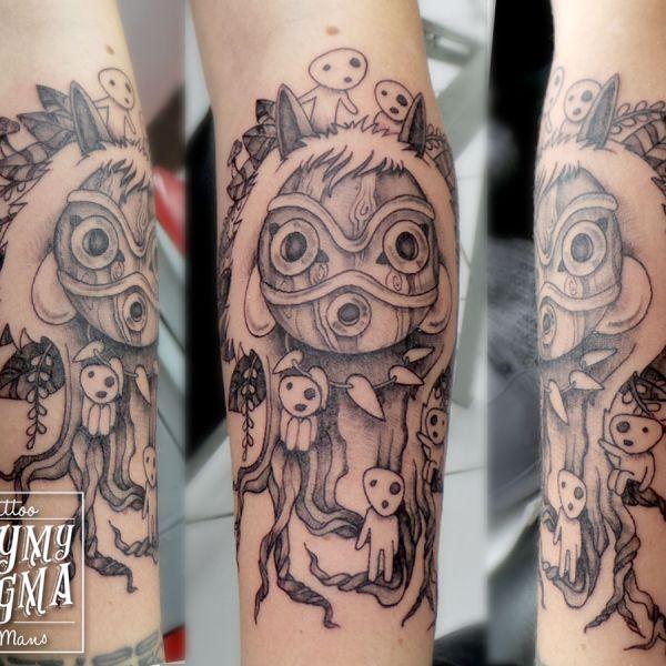 Tatouage du masque de princesse Mononoke